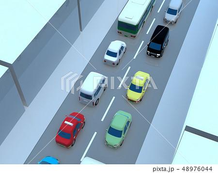 CG 3D イラスト デザイン 立体 車 自動車 交通 トラブル 渋滞 道路 通勤 休日 一般道 48976044