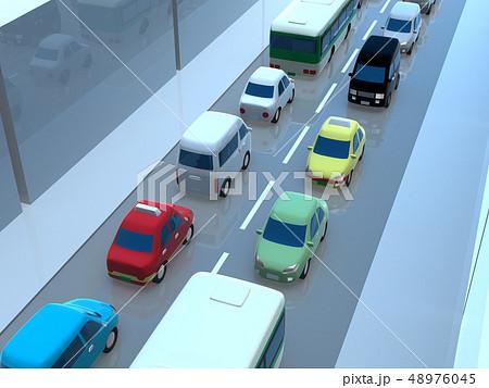 CG 3D イラスト デザイン 立体 車 自動車 交通 トラブル 渋滞 道路 通勤 休日 一般道 48976045