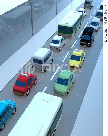CG 3D イラスト デザイン 立体 車 自動車 交通 トラブル 渋滞 道路 通勤 休日 一般道 48976047