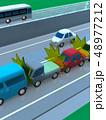 CG 3D イラスト デザイン 立体 車 自動車 交通 事故 トラブル 玉突き 道路 保険 事例 48977212