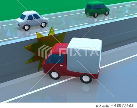 CG 3D イラスト デザイン 立体 車 自動車 交通 事故 トラブル 自損事故 道路 保険 事例 48977432