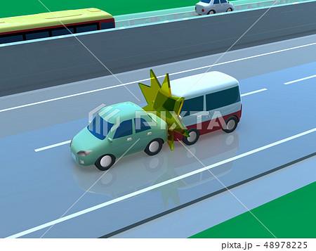 CG 3D イラスト デザイン 立体 車 自動車 交通 事故 トラブル 追突事故 道路 保険 事例 48978225