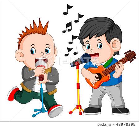 Two man playing guitar and singing 48978399