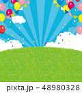 芝生 背景 風船のイラスト 48980328