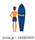 Surfer man standing with surfboard. 48980900