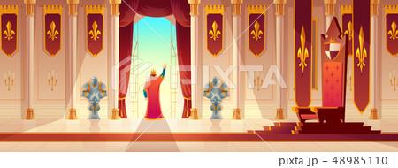 King greeting crowd from balcony cartoon vector 48985110