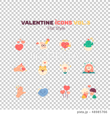 Valentine icons in flat style 48985766