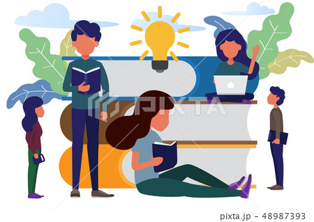 man and woman sitting front big books reading and 48987393
