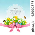 Happy Easter background. Easter eggs in green 48990876