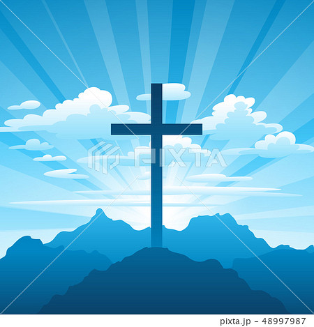Easter illustration. Greeting card with cross and clouds. 48997987