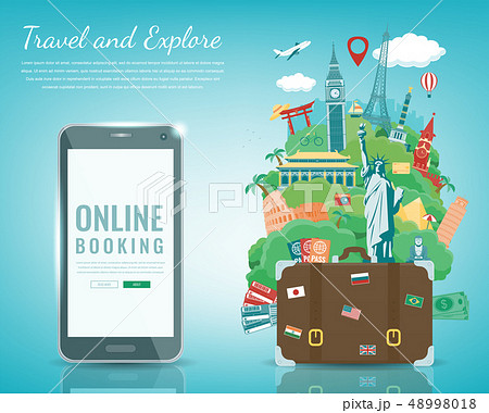 Travel composition with famous world landmarks. Travel and Tourism. Concept website template. Vector 48998018