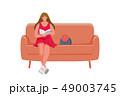 座っている ソファー ハンドバッグのイラスト 49003745
