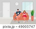 座っている 座る ソファのイラスト 49003747