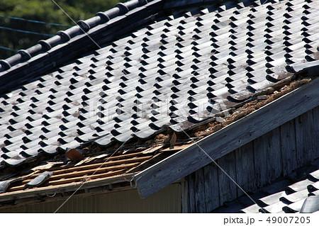 台風の被害 屋根瓦 49007205