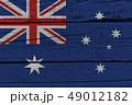 Australia flag painted on old wood plank 49012182