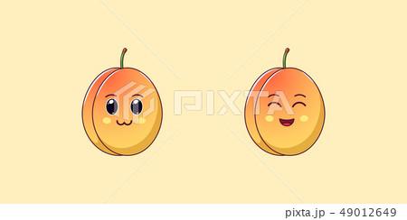 Cute Kawaii Apricot, Cartoon Ripe Fruit. Vector 49012649