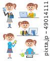 女の子 高校生 スマートフォンのイラスト 49014111