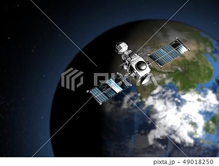 地球と人工衛星 perming3DCGイラスト素材 49018250