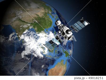 地球と人工衛星 perming3DCGイラスト素材 49018251