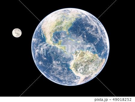 地球と月 perming3DCGイラスト素材 49018252