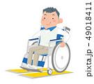 人物 車椅子 ステップのイラスト 49018411