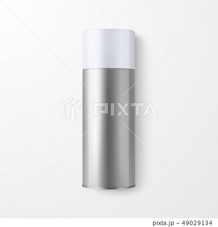Vector 3d Realistic Silver Blank Spray Can, Spray Bottle Closeup Isolated on White Background 49029134
