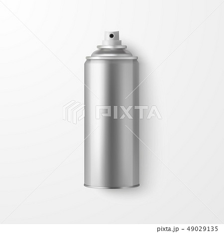 Vector 3d Realistic Silver Blank Spray Can, Spray Bottle Closeup Isolated on White Background 49029135
