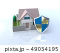 CG 3D イラスト デザイン 立体 セキュリティ 楯 ガード 家 住宅 防犯 防災 警備 安全  49034195