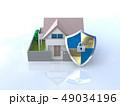 CG 3D イラスト デザイン 立体 セキュリティ 楯 ガード 家 住宅 防犯 防災 警備 安全  49034196