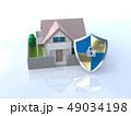 CG 3D イラスト デザイン 立体 セキュリティ 楯 ガード 家 住宅 防犯 防災 警備 安全  49034198