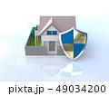 CG 3D イラスト デザイン 立体 セキュリティ 楯 ガード 家 住宅 防犯 防災 警備 安全  49034200