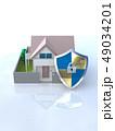 CG 3D イラスト デザイン 立体 セキュリティ 楯 ガード 家 住宅 防犯 防災 警備 安全  49034201
