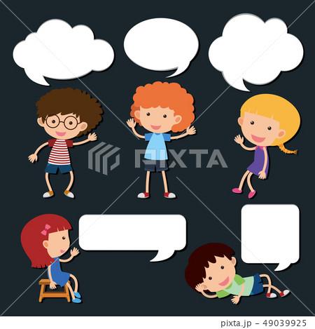 Happy kids with blank speech bubbles 49039925