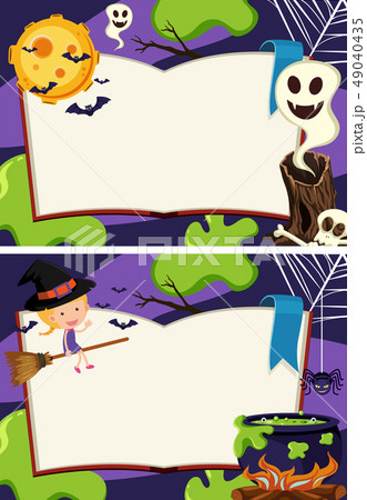 Two border templates with halloween night 49040435
