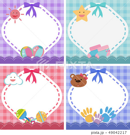 Border template with baby theme in four colors 49042217