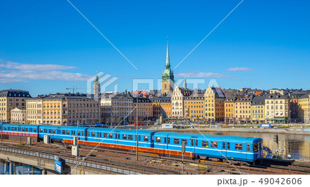 Stockholm cityscape with a train in Stockholm 49042606