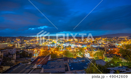 View of Cappadocia city at night in Turkey 49042609