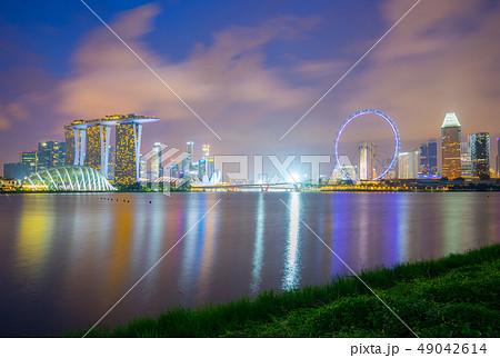 Singapore city skyline at night view from Marina 49042614