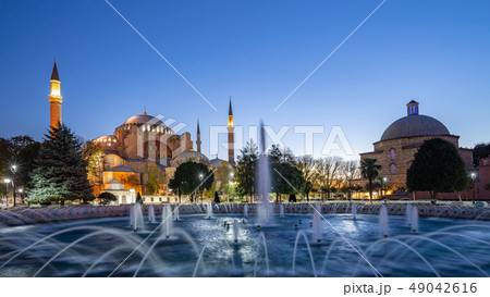 Panorama view of Hagia Sofia at night in Istanbul 49042616