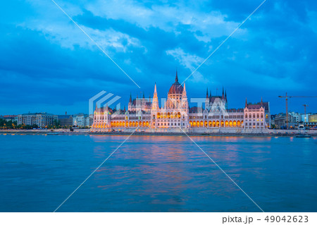 Budapest Parliament Building with view of Danube 49042623