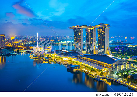 Night of Singapore city skyline with view of 49042624