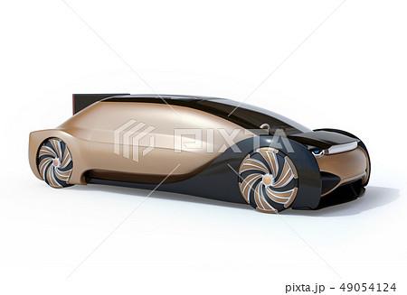 白バックにメタリックゴールド色の自動運転電気自動車高級サルーン。オリジナルデザイン 49054124