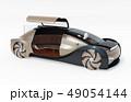 白バックにメタリックゴールド色の自動運転電気自動車高級サルーン。右ドアオープン状態。 49054144
