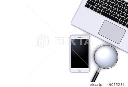 虫めがねとスマートフォン、ノートパソコン 49055281