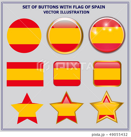 Set of buttons with flag of Spain. Illustration. 49055432