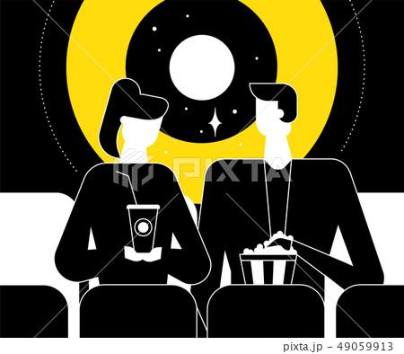 Couple at the cinema - flat design style illustration 49059913