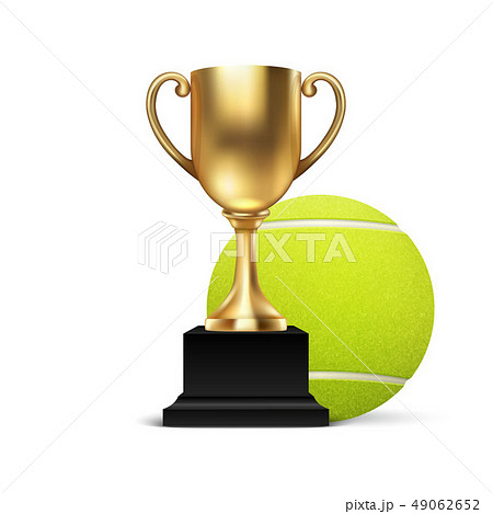 Realistic Vector 3d Blank Golden Champion Cup Icon wirh Tennis Ball Set Closeup Isolated on White 49062652