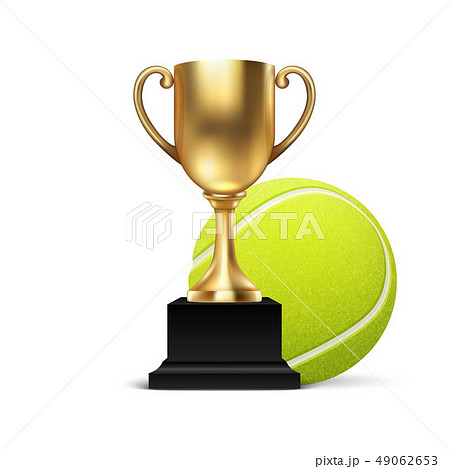 Realistic Vector 3d Blank Golden Champion Cup Icon wirh Tennis Ball Set Closeup Isolated on White 49062653