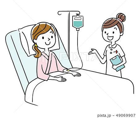 入院患者と看護師 49069907