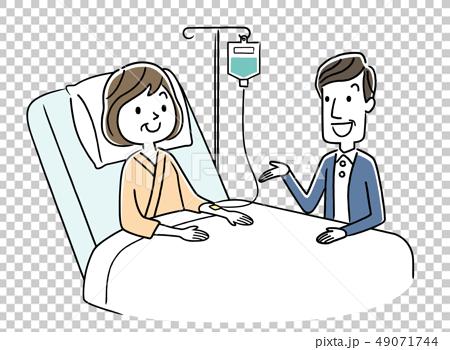 入院している妻と面会に来た夫 49071744